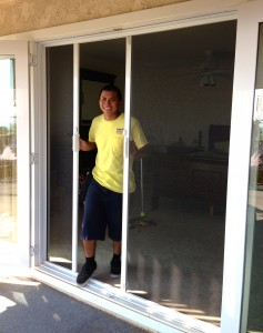Disappearing screen door installation